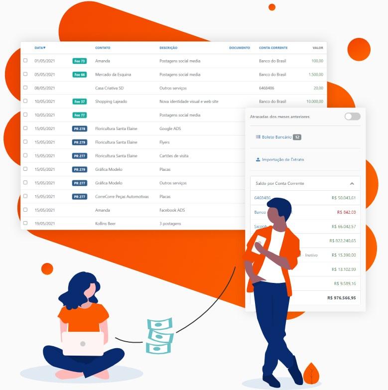 Parte da tela de Lançamentos e Saldo de Contas do Sistema SiGA